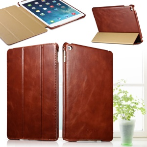 ICARER for iPad Air 2 Vintage Genuine Leather Case with Tri-fold Stand - Brown
