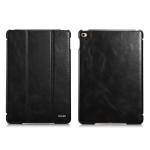 ICARER for 	iPad mini 4 Vintage Genuine Leather Case with Tri-fold Stand - Black
