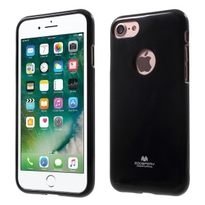 MERCURY GOOSPERY Jelly Flash Powder TPU Case with Apple Logo Hole for iPhone 8 / iPhone 7 4.7 - Black