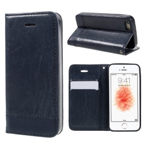 Card Slots Leather Stand Phone Case Accessory for iPhone SE / 5S / 5 with Lanyard - Dark Blue