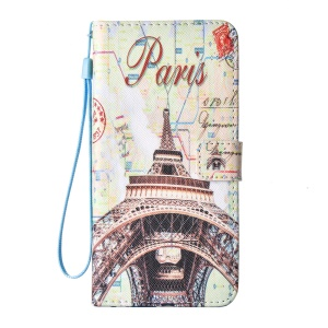 Pattern Leather Wallet Phone Case with Lanyard for iPhone 6s 6 - Paris Eiffel Tower