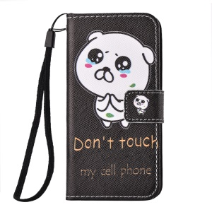 Personalized Wallet Leather Phone Cover for iPhone SE/5s/5 with Wrist Strap - Do Not Touch My Cell Phone