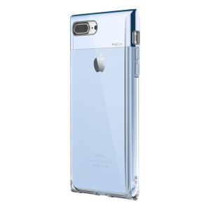 ROCK Crystal Series for iPhone 8 Plus / 7 Plus 5.5 inch Plating Hybrid PC + TPU Mobile Phone Case - Blue