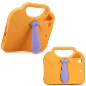 3D Shirt Tie Non-toxic EVA Handle Shell with Kickstand for iPad mini 4/3/2/1 - Orange