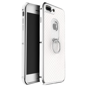 IPAKY Finger Ring Kickstand PC TPU Hybrid Cover for iPhone 8 Plus / 7 Plus 5.5 inch (2016) - White