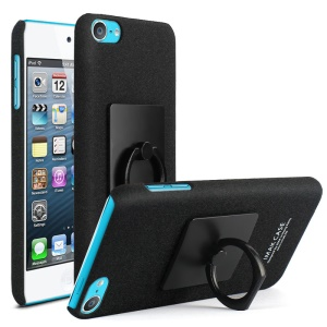 IMAK for iPod Touch 6 Ring Holder Kickstand Matte PC Mobile Case + Screen Protector - Black