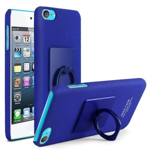 IMAK Finger Ring Kickstand Matte PC Mobile Cover for iPod Touch (2019) / Touch 6 + Screen Protector - Blue
