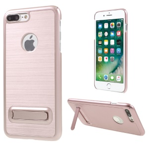 Brushed Plastic Kickstand Hard Case for iPhone 7 Plus - Rose Gold
