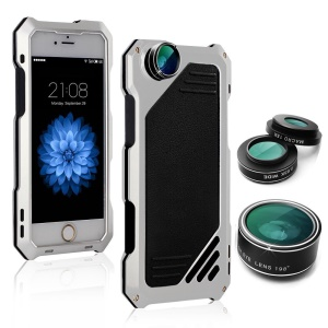 Silcone Aluminum Alloy Cover with 3 Lens for iPhone 8/7 4.7 inch - Silver