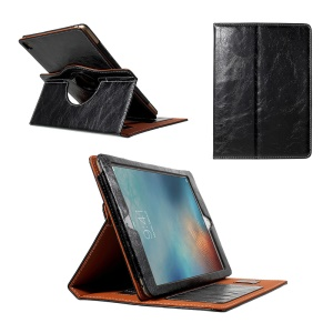 Crazy Horse Swivel Stand Leather Case with Credit/SIM Card Slots for iPad Pro 9.7 - Black