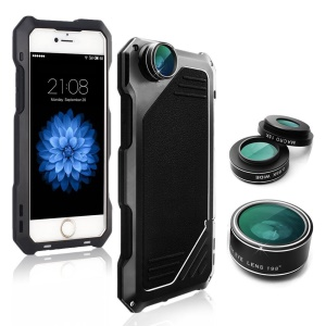 VIKING Shockproof Dirt-proof Case with Interchangeable Lens for iPhone SE/5s/5 - Black