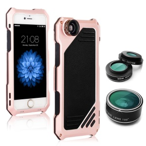 VIKING Dirt-proof Case with Wide Angle + Macro 15X + Fisheye Lens for iPhone SE/5s/5 - Rose Gold