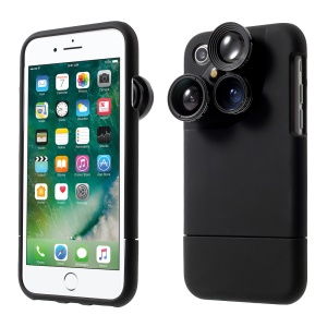 PICKOGEN 4 in 1 External Wide Telephoto Camera Lens Case for iPhone 8 / 7 4.7 inch HE-099 - Black