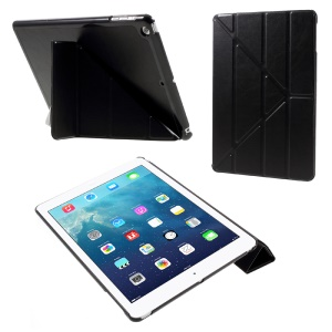 Origami Stand Leather Folio Case for iPad Air - Black