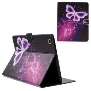 Patterned Leather Card Holder Case Protector for iPad 4 3 2 - Purple Butterfly