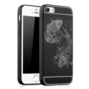 For iPhone SE / 5s / 5 Auspicious Koi Fish Pattern Soft TPU Phone Case Cover - Black
