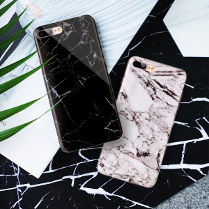 Marble Pattern IMD Soft TPU Case Cover for iPhone 8 Plus / 7 Plus 5.5 inch - Black