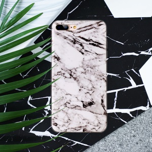 For iPhone 8 Plus / 7 Plus 5.5 inch Marble Pattern IMD TPU Phone Case Accessory - White