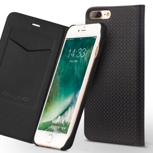 QIALINO Grid Texture Auto-absorbed Cowhide Leather Flip Case with Card Slot for iPhone 7 Plus - Black