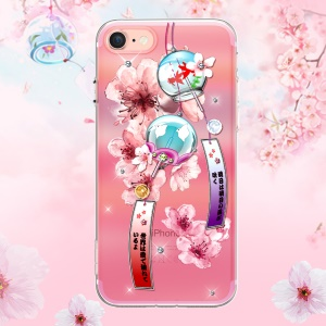 KINGXBAR Pretty Series Diamond Embossment TPU Phone Case for iPhone SE 2nd Gen (2020)/8/7 - Wind Chime