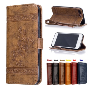 Imprinted Flower Oil Wax PU Leather Cell Phone Case for iPhone 7 Plus 5.5 - Brown