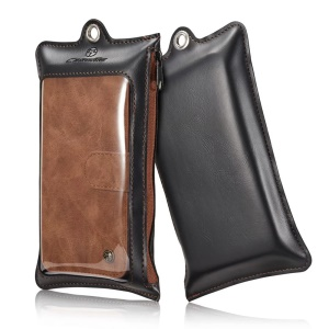 CASEME for iPhone 8 Plus / 7 Plus 2-In-1 Multi-slot Split Leather Wallet Magnetic Cellphone Shell Casing with Detachable Inner Cover - Brown