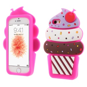 3D Cherry Ice Cream Silicone Case Mobile Accessory for iPhone SE 5s 5 - Rose