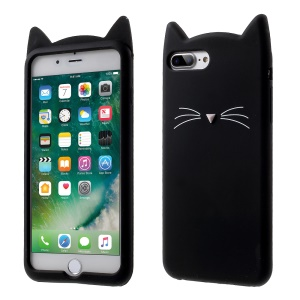 Lovely 3D Moustache Cat Soft Silicone Back Case para iPhone 8 Plus / 7 Plus - negro