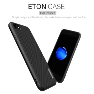 NILLKIN ETON Case for iPhone 8/7 4.7 Twill Grain PC TPU Phone Cover with Built-in Magnetic Sheet - Black