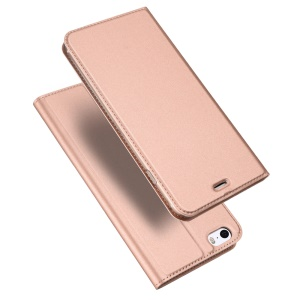 DUX DUCIS Skin Pro Series for iPhone SE/5s/5 Business Leather Stand Flip Cover - Rose Gold
