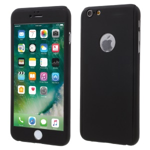 360 Degree Full Protection PC Hard Case for iPhone 6s 6 with Tempered Glass Screen Protector - Black