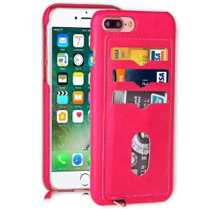 3 Card Holders Leather Coated PC Mobile Case for iPhone 7 Plus 5.5 inch - Rose
