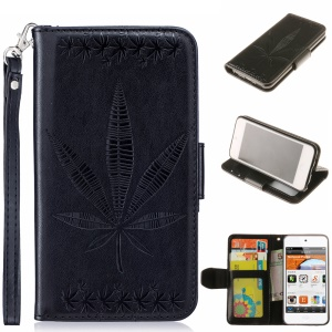 Imprint Maple Leaves Leather Wallet Case for iPod Touch 6/5 - Black
