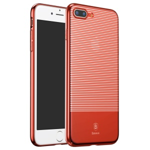 BASEUS Stripe Style Electroplating Plastic Mobile Phone Cover for iPhone 7 Plus 5.5 Inch - Red