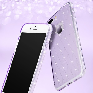 SULADA Flexible Cell Phone Shell with Rhinestone Decoration (TPU) for iPhone 7 Plus - Purple