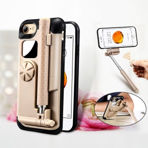 For iPhone 7 Bluetooth Selfie Stick PC + Silicone Phone Case with Mirror and Camera Shutter - Black