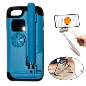 For iPhone 7 Bluetooth Selfie Stick PC + Silicone Phone Shell Casing with Mirror and Camera Shutter - Blue