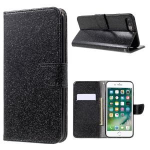 Flashing Powder Wallet Leather Phone Case for iPhone 7 Plus 5.5 inch with Stand - Black