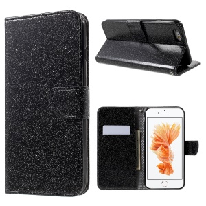 Flashing Powder Wallet Stand Leather Phone Case for iPhone 6s 6 - Black