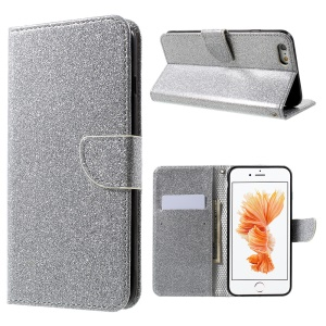 Flashing Powder Magnetic Mobile Case for iPhone 6s 6 (PU Leather + TPU) - Silver