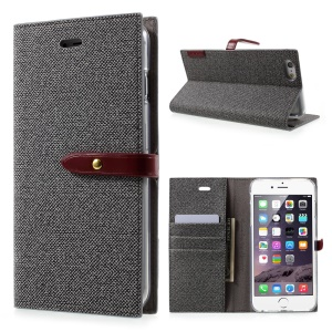 MERCURY GOOSPERY for iPhone 6s Plus / 6 Plus Milano Diary Case Leather Wallet Cover - Grey