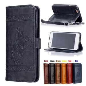 Vintage Oil Wax Imprint Flower Pattern Leather Phone Wallet Case for iPhone 6s 6 with Strap - Black