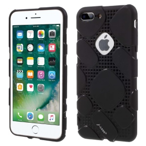 J-CASE Ice Series for iPhone 7 Plus Grid Pattern TPU Drop-proof Phone Casing - Black