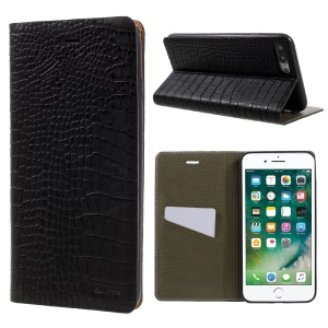 KAIYUE Crocodile Grain Auto-absorbed Genuine Leather Phone Case for iPhone 7 Plus 5.5 - Black
