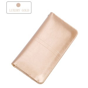 SOYAN Universal Leather Wallet Pouch Case with Button Closure for iPhone 7, 7 Plus, Size: 19 x 9cm - Gold