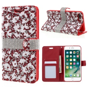 Diamonds and Beads Decor Leather Wallet Phone Case for iPhone 7 Plus 5.5 inch - Red
