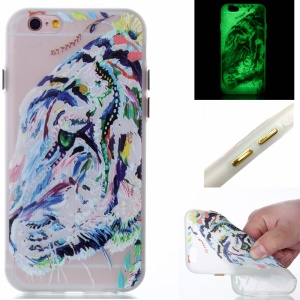 Luminous Glow Back TPU Gel Cover for iPhone 6s 6 - Tiger Pattern Printing