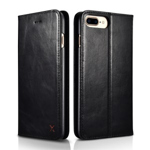 XOOMZ Genuine Leather Wallet Stand Cellphone Case for iPhone 7 Plus - Black