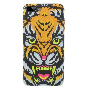 For iPhone 7 Plus 5.5 Noctilucent Glow in the Dark TPU Phone Case - Tiger with Short Tooth / Orange