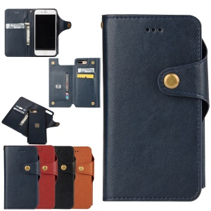 2-In-1 Magnetic Wallet Leather Mobile Cover for iPhone 7 Plus 5.5 Inch - Dark Blue